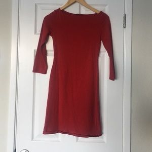 Red midi form fitting dress